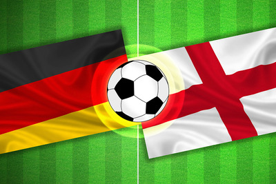 Germany and England Flags on Football Pitch