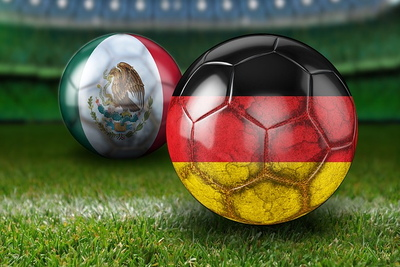 Germany and Mexico Football Flags