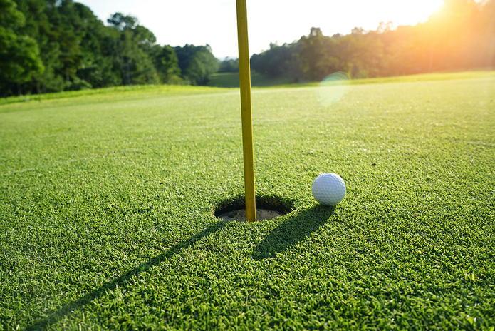 Golf Ball Approaching Pin