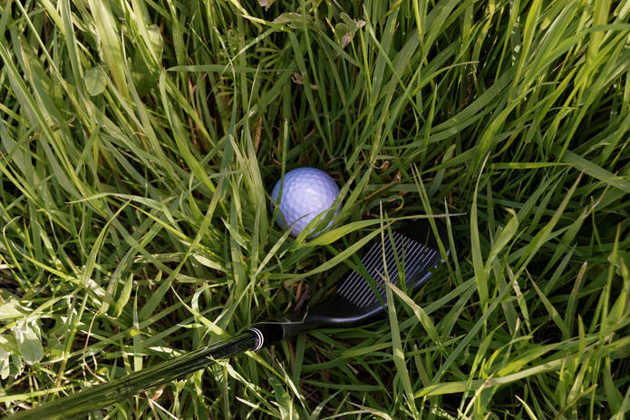 Golf Ball and Wedge in Rough Grass