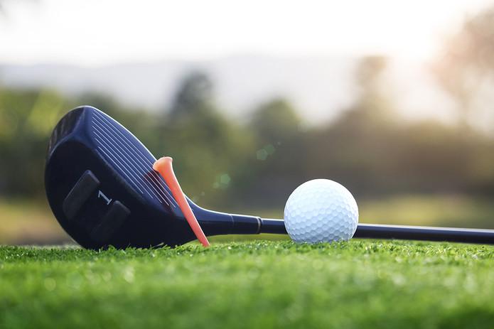 Golf Driver Ball and Tee