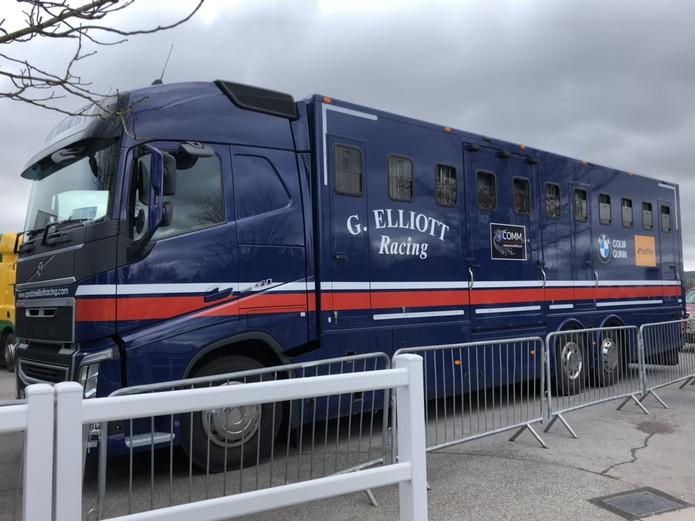 Gordon Elliott Racing Horse Transporter at Cheltenham