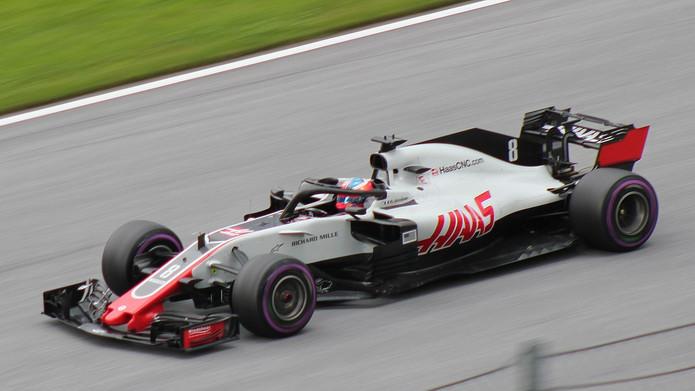 Haas F1 Car Driven by Romain Grosjean