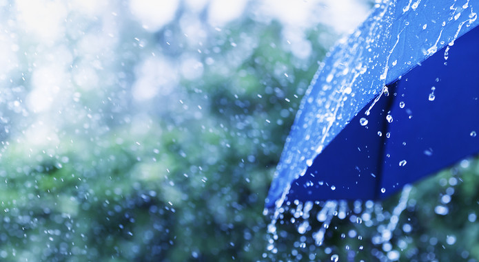 Heavy Rain on Blue Umbrella