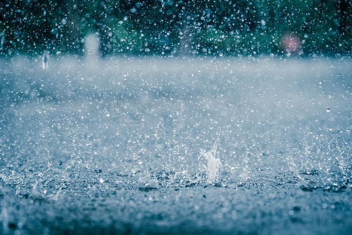 Heavy Rain Falling on Ground