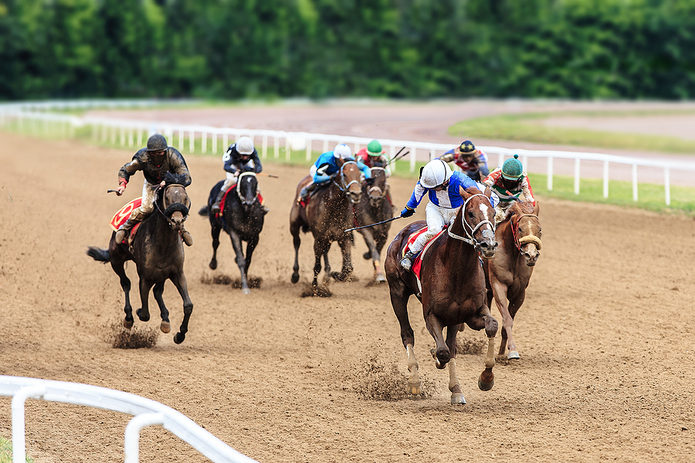 Horses Racing Along Nearside Rail