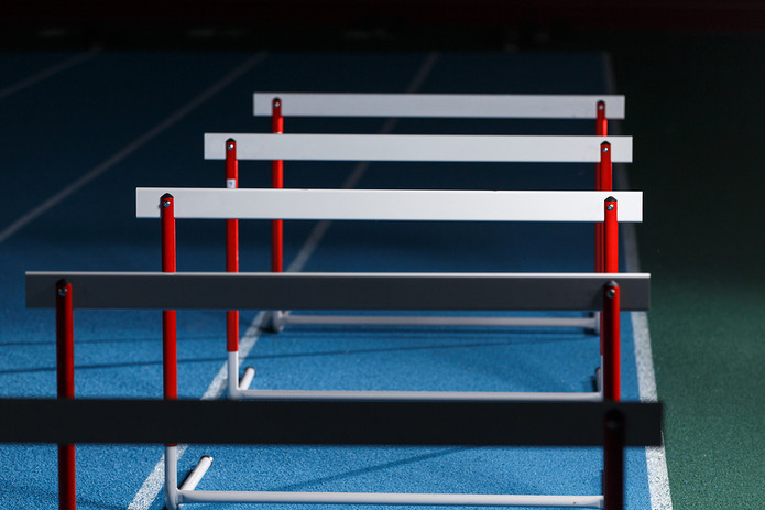 Hurdles on an Indoor Track