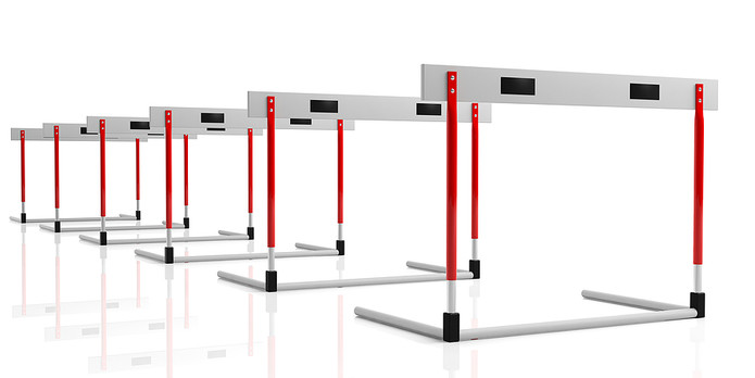 Hurdles on White Background