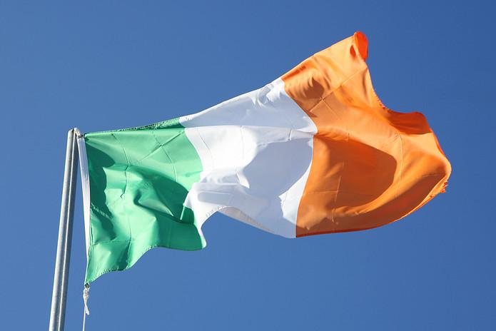 Ireland Flag Against Blue Sky