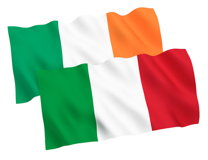 Ireland and Italy Flags