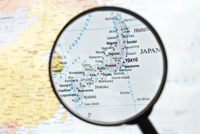 Japan Map and Magnifying Glass