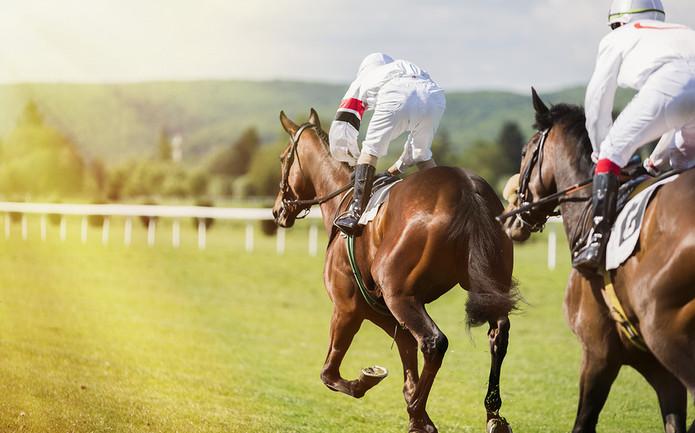 Jockeys in White Silks Racing