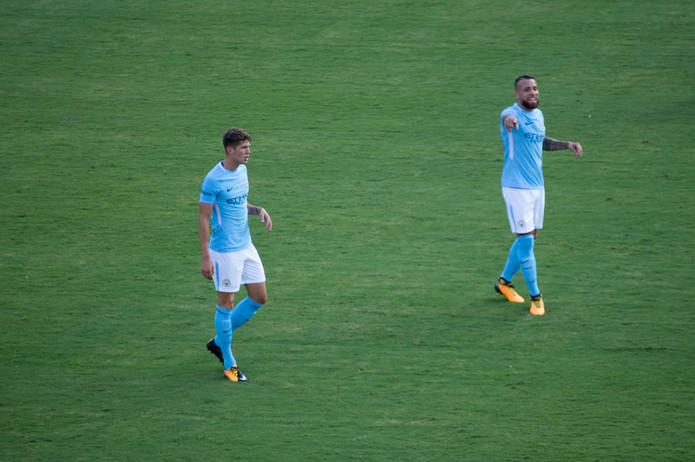 John Stones and Nicolas Otamendi Playing for Manchester City