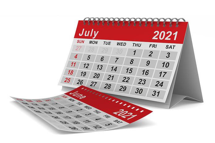 June and July 2021 Desktop Calendar