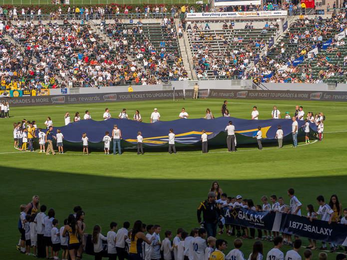 LA Galaxy Banner on Pitch