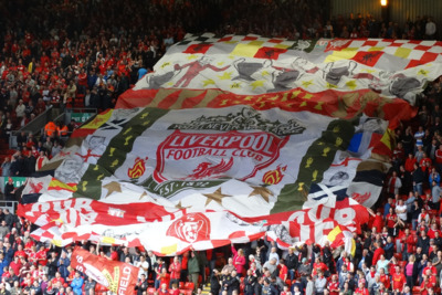 Liverpool Flag in Crowd at Anfield Stadium