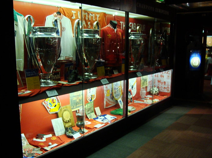 Liverpool Trophy Cabinet with European Cups