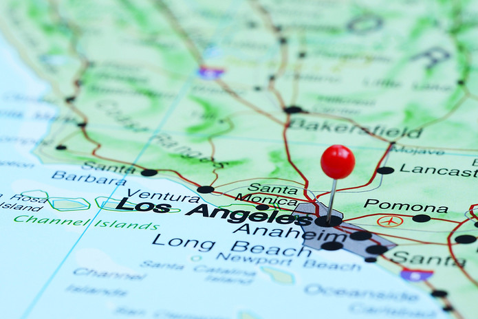 Los Angeles Pinned on Map