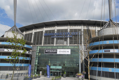 Colin Bell Stand Entrance at Manchester City's Etihad Stadium