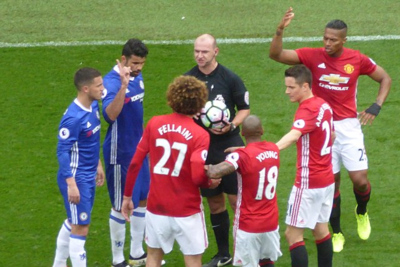 Manchester United and Chelsea Players Confronting Each Other During Match