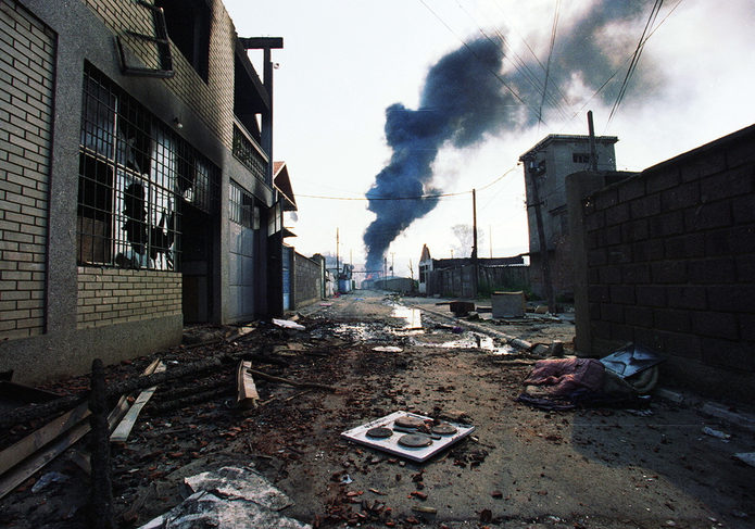 Destroyed Mitrovica in Kosovo in 1999