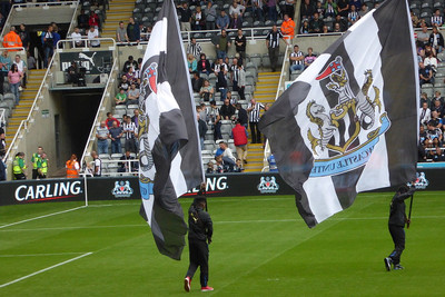 Newcastle United Flags on Pitch Before Football Match