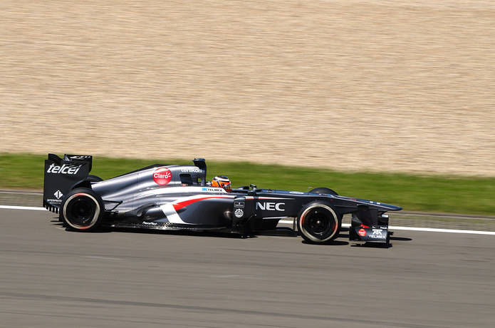 Nico Hulkenburg Racing a Sauber at the Nurburgring