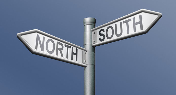 North and South Road Sign
