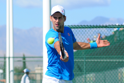 Novak Djokovic Playing Backhand in Practise