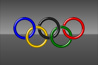 Olympic Rings Against Grey Background