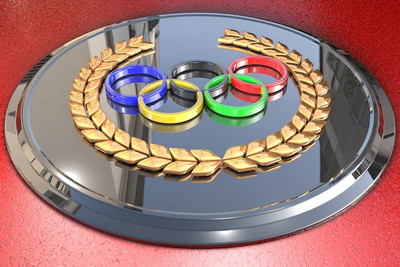 Olympic Rings on Silver Plate