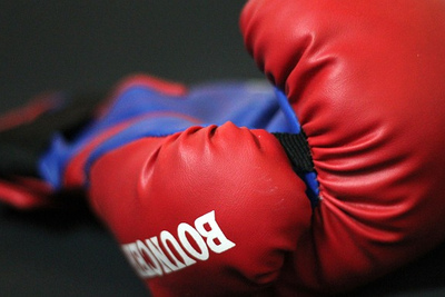 Pair of Red and Blue Boxing Gloves