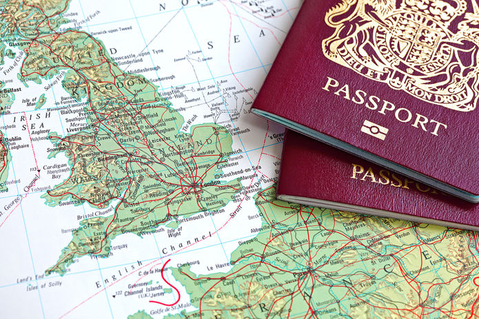 Passports and Map of the UK