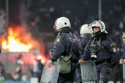 Police at Football Stadium Riot