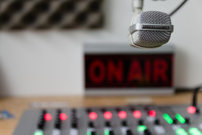 Radio Microphone, Mixing Desk and On Air Sign