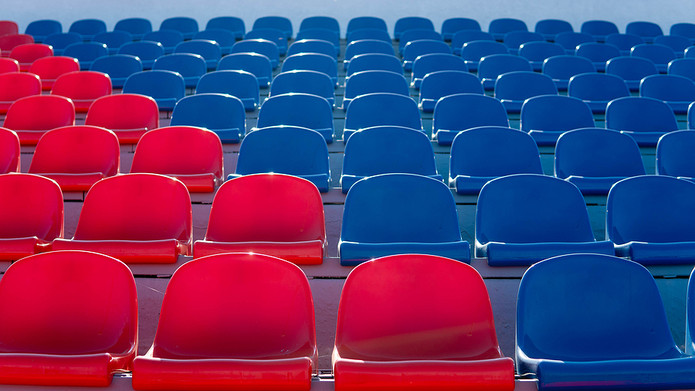 Red and Blue Coloured Stadium Seats
