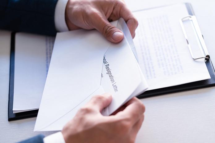 Resignation Letter in Envelope