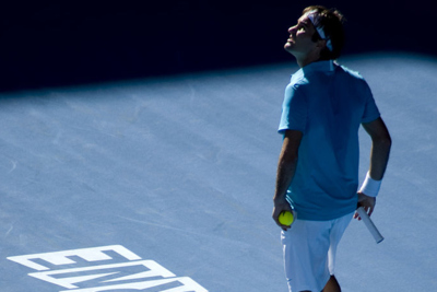 Roger Federer on Court at the Australian Open Tennis