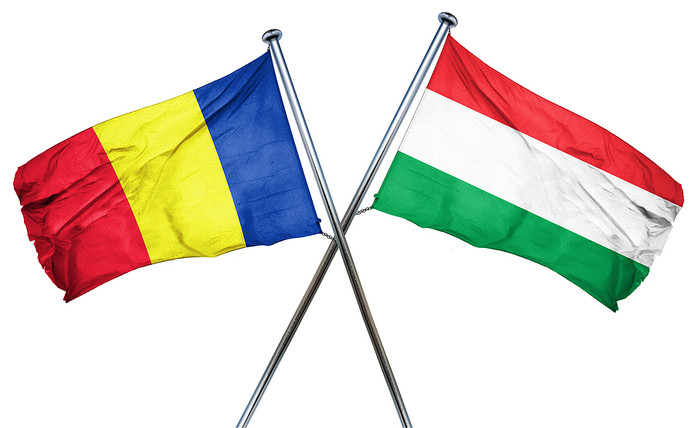 Romanian and Hungarian Flags
