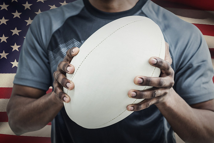 Rugby Player In Front of USA Flag