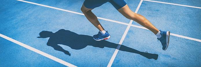 Runner on Blue Track