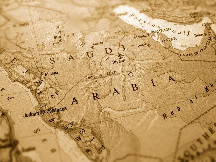 Sepia Saudi Arabia Map