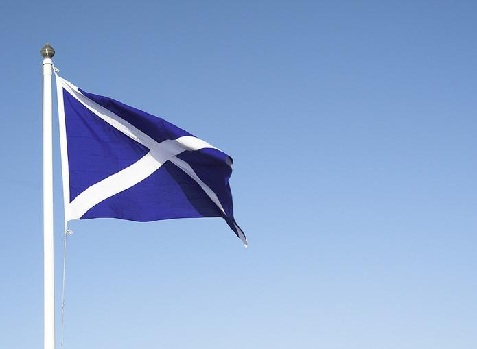 Scotland Flag Against Blue Sky