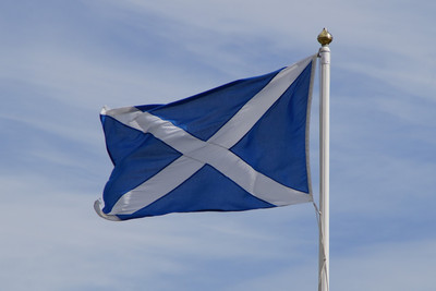 Scotland Flag on White Flagpole
