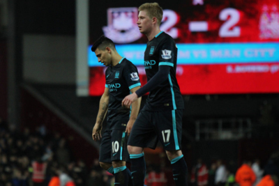 Manchester City Footballers Sergio Aguero and Kevin De Bruyne