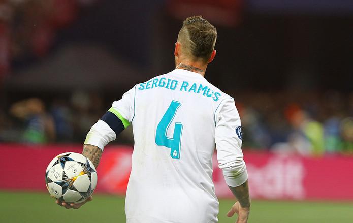 Sergio Ramos Showing Shirt Number