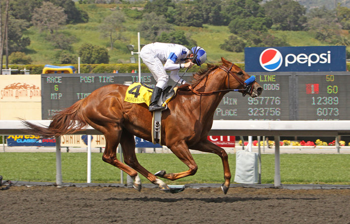 Sidney's Candy winning the Santa Anita Derby at Santa Anita Park