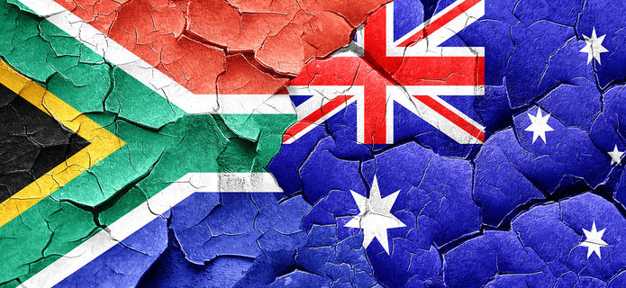 South Africa and Australia Cracked Flags