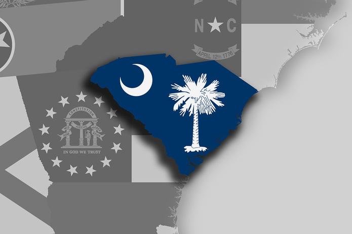 South Carolina Map and Flag