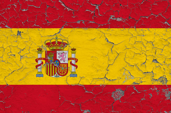 Spain Flag on Cracked Wall